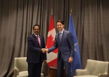 Madaxweynaha Somaliya 'Farmaajo' oo Addis Ababa kula kulmay Ra'iisul wasaaraha dalka Canada +(SAWIRRO)